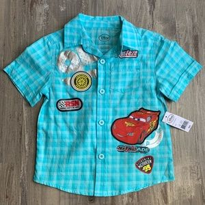 NEW Disney Cars Lightning McQueen Button Up Shirt